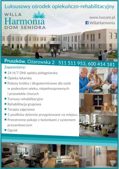 Luksusowy ośrodek opiekuńczo – rehabilitacyjny  VILLA HARMONIA  – DOM SENIORA