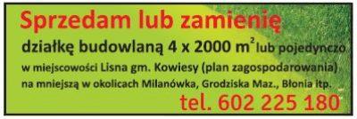 Sprzedam działkę budowlaną – gmina Kowiesy